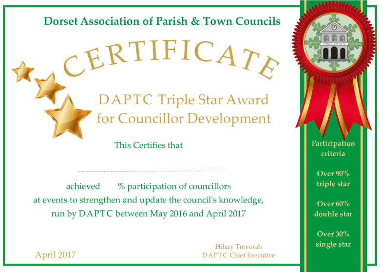 DAPTC Triple Star Award Certificate